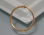 Nose Ring Single 18k Gold Hoop Earring 10mm diameter 20g or 18g