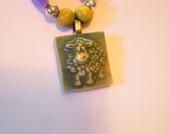 Wooly Lamb Sheep Charm Necklace in Purple and Green