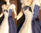 50s vintage cupcake tuxedo prom...navy n creme....flounce n flirt sm med vintage doll