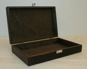 Dark Brown Wooden Box / Wooden Gift Box / Dark Brown Keepsake Box 9.84 x 5.90 x 1.77 inch