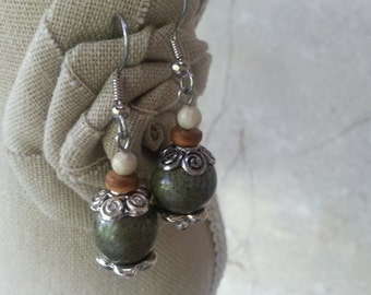 Memorial Bead Earrings - Custom Keepsake Stoneware Pottery Pet Cremains Jewelry - COCONUT BEACH Drop Earrings