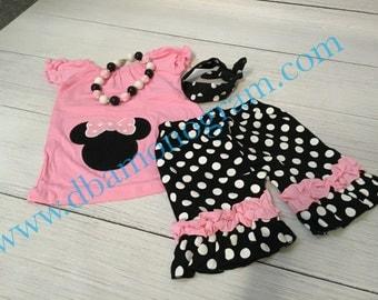 Girls Monogrammed Polka Dot Minnie Mouse Ruffle Short Set, Disney outfit