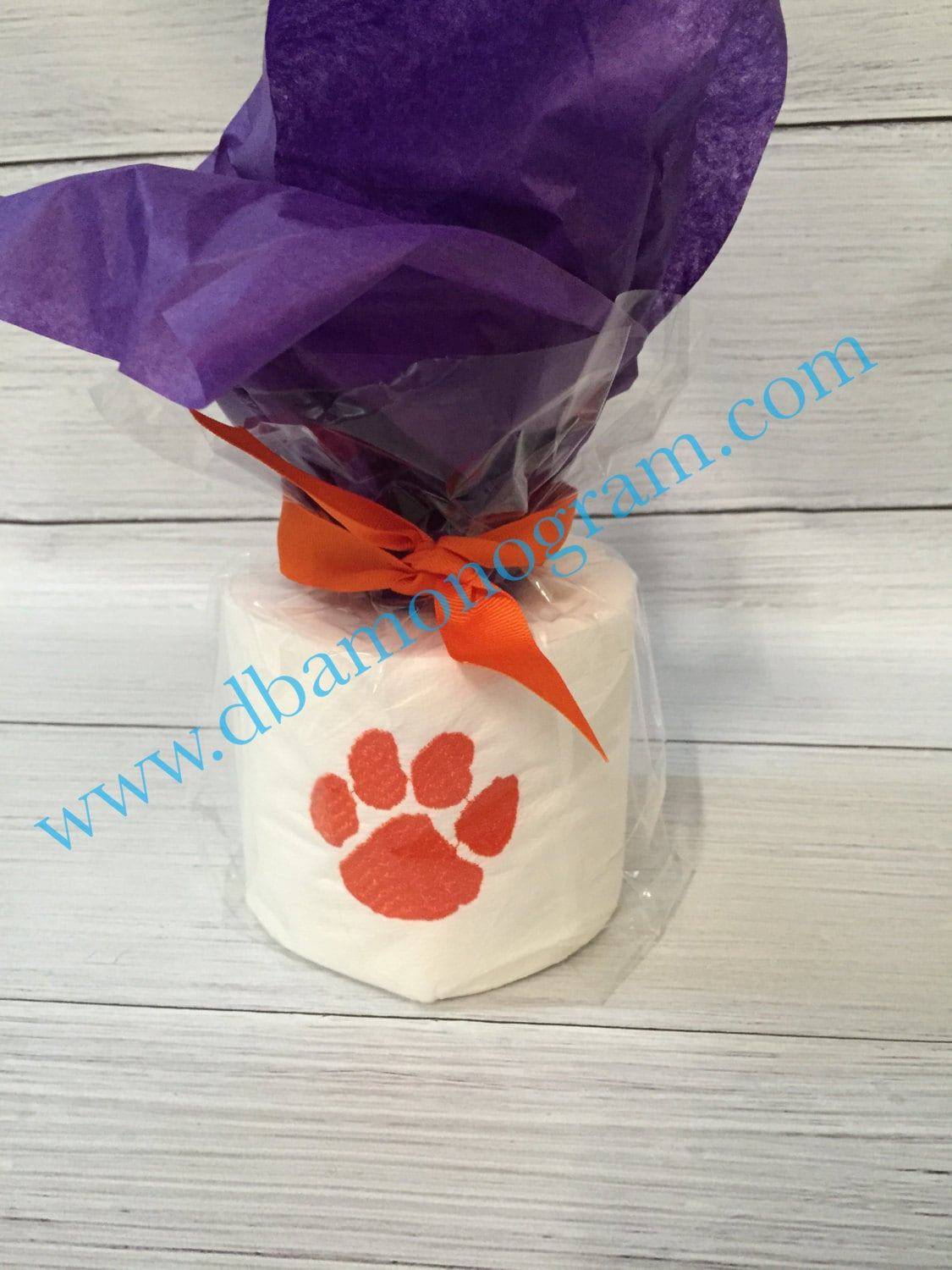 Monogrammed toilet paper embroidered clemson by for Design your own toilet paper
