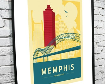 Items Similar To Memphis Tennessee Skyline Cityscape Home Decor Art Poster