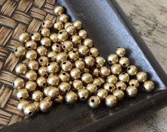 6mm Raw brass beads - 50g (approx. 180 pcs.) quality Indian brass beads with 1.5-2mm hole, Indian brass beads, round brass beads, 6mm beads