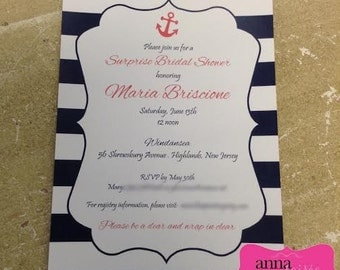 NAUTICAL SHOWER or BIRTHDAY Invitations - anchor, flourish center with striped background design - Personalize font, font color and text!
