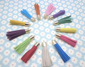100 pieces Mixed Color 50mm Suede Leather Tassel With Gold color Cap