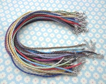50pcs assorted colors faux braided leather necklace cord 16-18inch with white k fittings
