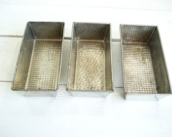 Vintage Loaf Pans Set of 3 Ovenex and Bake King Heavy Metal Mini Loaf Pans