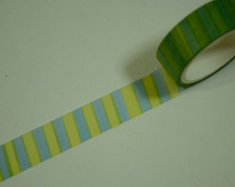 1 Roll Japanese Washi Masking Paper Tape - Green and Yellow Stripes