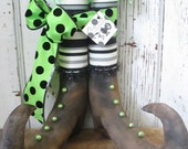 "Primitive Halloween Witch Boots 14"" tall w/ Striped Stockings and Green Trims~HAFAIR"