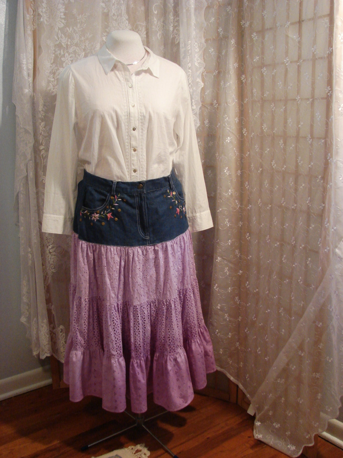 dyed purple denim and lace skirt boho cottage by