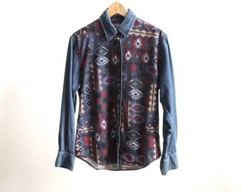90s SOUTHWEST ikat shirt top button up SHORT sleeve shirt
