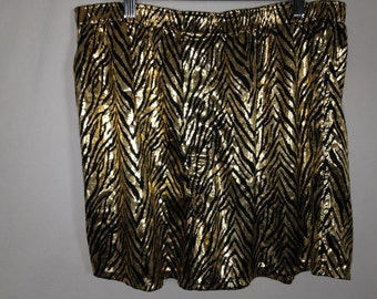 shiny gold zebra shorts size L