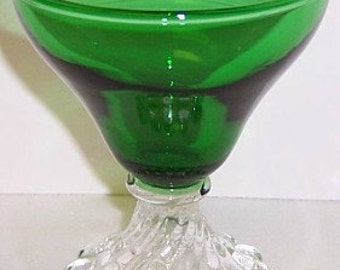 Anchor Hocking Fire King Forest Green BURPLE 3 1/2 Inch High COCKTAIL Glass