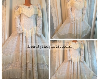 Vintage 1970's Cowgirl White Western Wedding Dress Ladies Size 4/5/6 Small USA