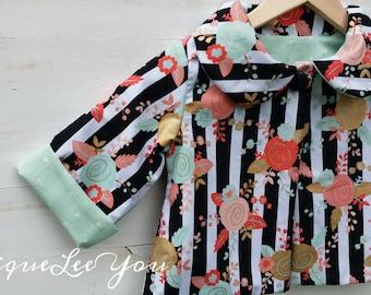 Little Girls Black and White Stripped Coat/ Girls Jacket / Girls Coat/ Flower Coat/ Stripped Coat