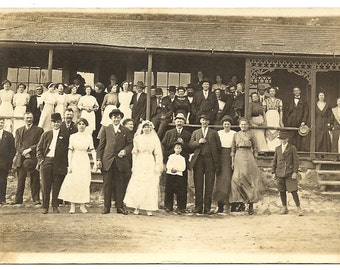 SaLe-Entire Wedding Group on Porch-Bride and Groom-RPPC-1910s-Portrait