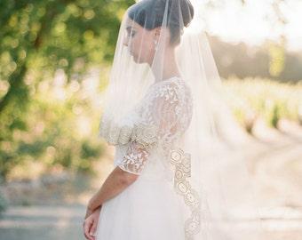 Bridal Veil, Gold Wedding Veil, Cathedral Veil, Bridal Veil, Mantilla Veil,Wedding Veil,Gold Lace Cathedral Veil, Bridal Illusion Tulle Veil