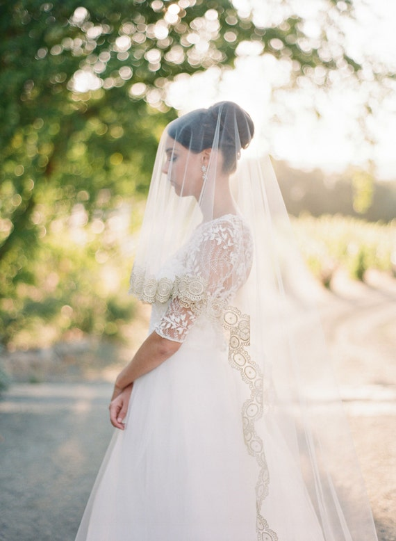 Bridal Veil Gold Wedding Cathedral