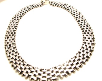 Sterling Silver Heavy Link Necklace - Articulated Woven Necklace - Weight 117.2 Grams