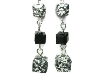 Swarovski Ceramic Earrings with Black Marbled Squares and Black Crystal Beads on Sterling Silver Earwires