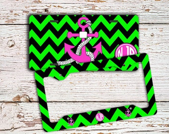 Gift for best friend, Monogram anchor license plate or frame, Lime green black hot pink, Chevron car tag, Personalized bike accessory (1253)