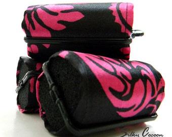 Pink & Black Damask Foam Hair Roller Covers 6 Jumbo or Set of 12