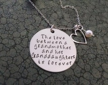 Grandmother Granddaughter Necklace The Love Between a Grandmother and Granddaughter is Forever Stamped Jewelry