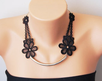 Black Necklace/ Lace Necklace/ Silver Bar Necklace/ Arc Necklace/ AFlower Necklace/ Wedding Necklace/ Gift For Her