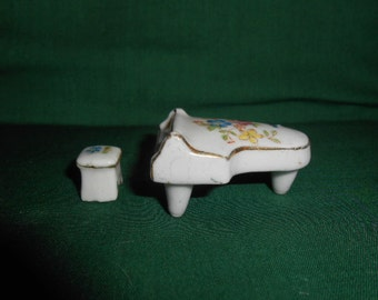 Porcelain Miniature Piano and Stool