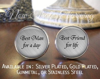 SALE! Best Man Cufflinks - Wedding Cufflinks - Gift for Best Man - Personalized Cufflinks