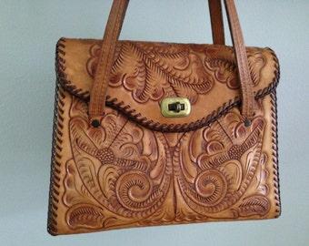 Leather Tooled Handbag Brown Leather Tooled Handbag