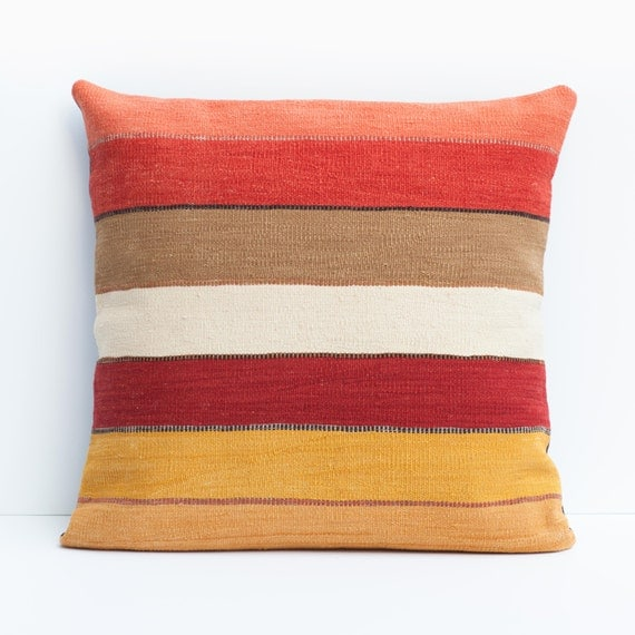 Modern Kilim Pillows : Modern Kilim Floor Pillow / Horizon Red by ChristianRathbone