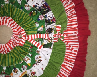 The Grinch ruffle Christmas Tree Skirt