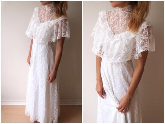Vintage 80s Ruffled Lace High Neck Wedding Dress