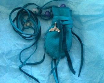 Deerskin Medicine Bag, Turquoise Deerskin Whale Medicine, Deer Hide, Amulet Bag, Pouch, Ocean Medicine