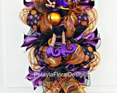 Witch Mesh Swag, Halloween Wreath, Witch Hat Wreath, Wreath With Spider, Verticle Swag, Halloween Decoration, Door Wreath, Colorful Wreath