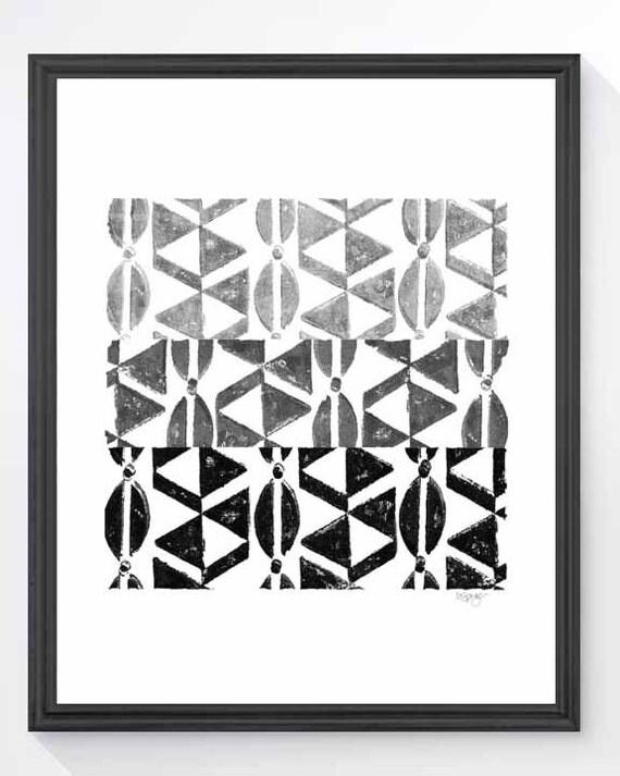 Tribal Print, 8x10 Black and White