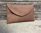 Soft Brown Leather Scout Clutch with Brass Rivets and Closure/ Handbag for Women