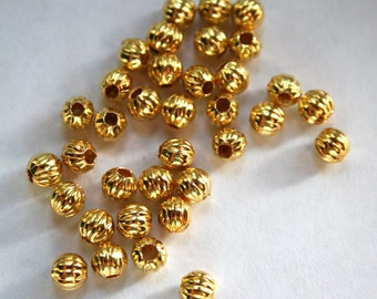 15 Gold Plated Corrugated Round Beads
