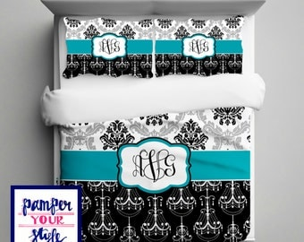 Damask and Chandelier Bedding with Matching Sham(s)   Personalize with Name or Monogram - Pick Your Color and Size - Create My Own Bedding