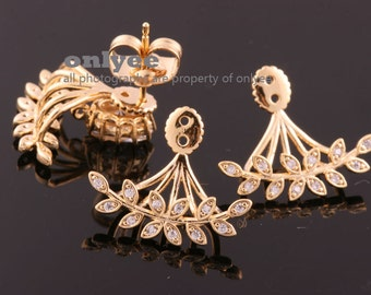 1pair/2pcs-18mmX16mmBright Gold Plated over Brass Ear Jackets(Delicate CZ Stone), for Ear Cuffs and Front Back Earrings Findings(K021G)