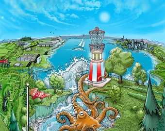 Disc golf art - Lighthouse Basket.  Disc Golf Art Print.  Disc Golf Illustration.
