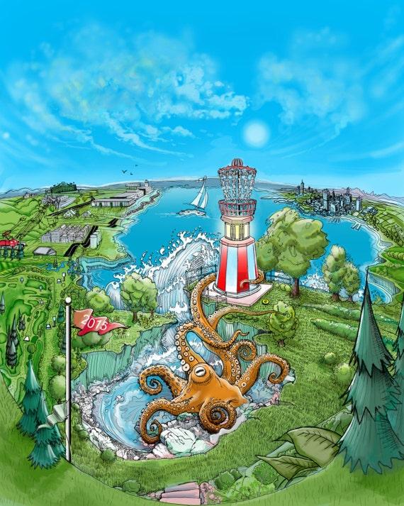 Disc Golf Art Lighthouse Basket Disc Golf Art Print Disc