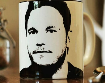 Chris Pratt - Hand Drawn - Silhouette - Portrait - Cup