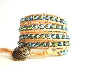 Leather Wrap Bracelet, 5 wrap bracelet, olive green bracelet, crystal bracelet, natural leather bracelet, boho bracelet, earthy bracelet