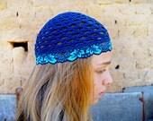 Crochet cotton Beanie HAT/ COTTON Hippie hat women summer hats dark blue ink navy Gypsy hats by Zaprix