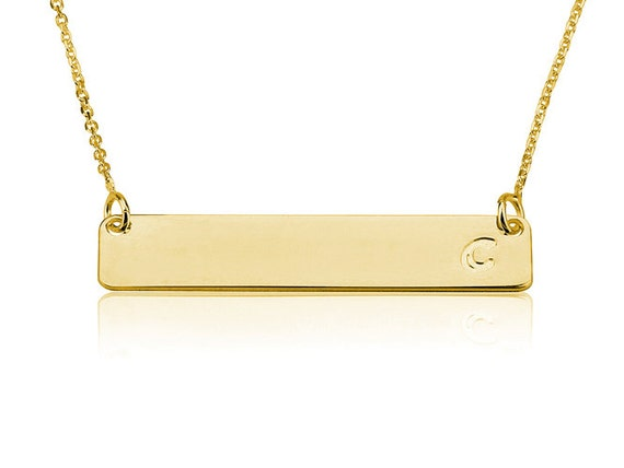 gold bar necklace name plate necklace by personalizednecklace