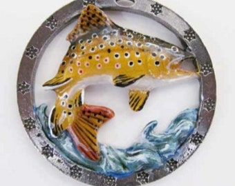 Painted ~ Brown Trout Leaping With Water ~ Holiday Ornament ~ FP010WOR